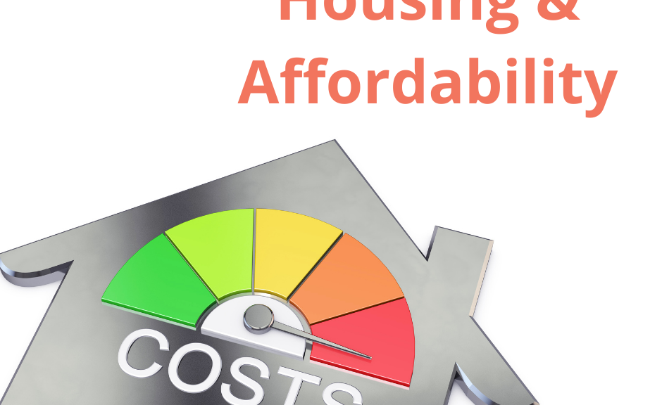 "An image on a white background of the outline of a grey house, with a chromatic gauge in the roof area. The gauge going from green to red has a needle pointing to the red, and underneath the gauge in white text is the word ""Costs"". Above the house the words ""Housing and Affordability"" are in orange text."