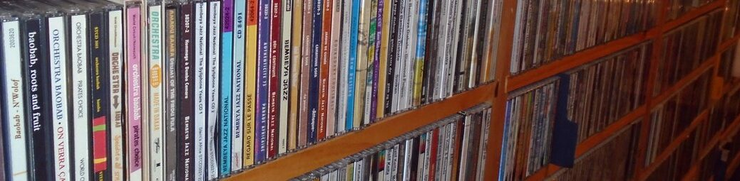 A shelf of CDs