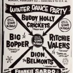 Poster: Winter Dance Party | Buddy Holly and the Crickets | Big Bopper | Ritchie Valens | Dion and the Belmonts (and much other text)