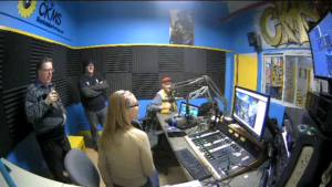 Four people in the CKMS Studio