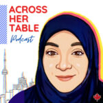 Across Her Table podcast (illustration of Mifrah Abid in front of a line drawing of the Toronto skyline inc. the CN Tower)
