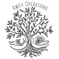 Amity Operations | AO - Logo of  a tree in between two hands with gifts