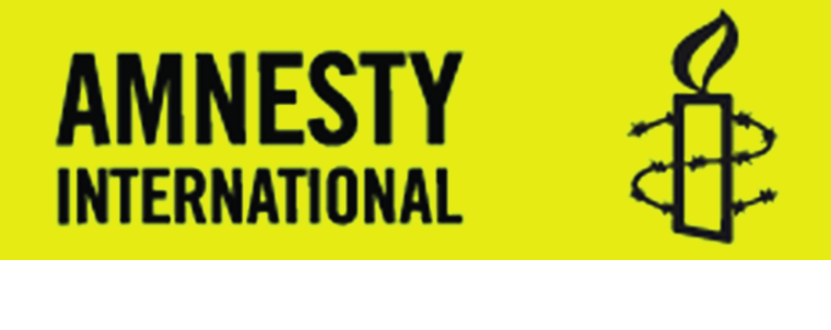 Amnesty International with logo candle and barbed wire