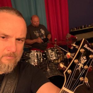 Gabriel Baragan and Cristian Iesan of Beast and Fish (selfie with instruments)
