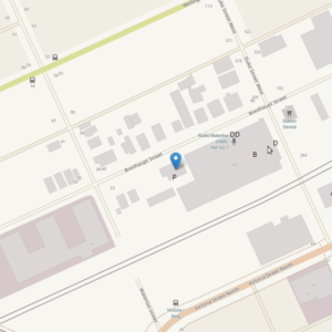 Map showing location of parking lot just to the west of the Boehmer Box Building
