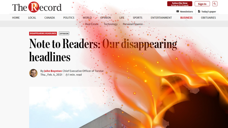 "An edited screenshot of a story from the Waterloo Region newspaper ""The Record"". The headline is ""A note to readers: Our disappearing headlines. A fire is spreading from the bottom right hand corner of the image, burning a hole in the story."