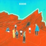 Eddie (solarized image of people on the side of a red mountain)