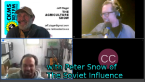 with Peter Snow of The Soviet Influence (screenshot of web conference with Peter Snow, Jeff Stager, and Bob Jonkman)