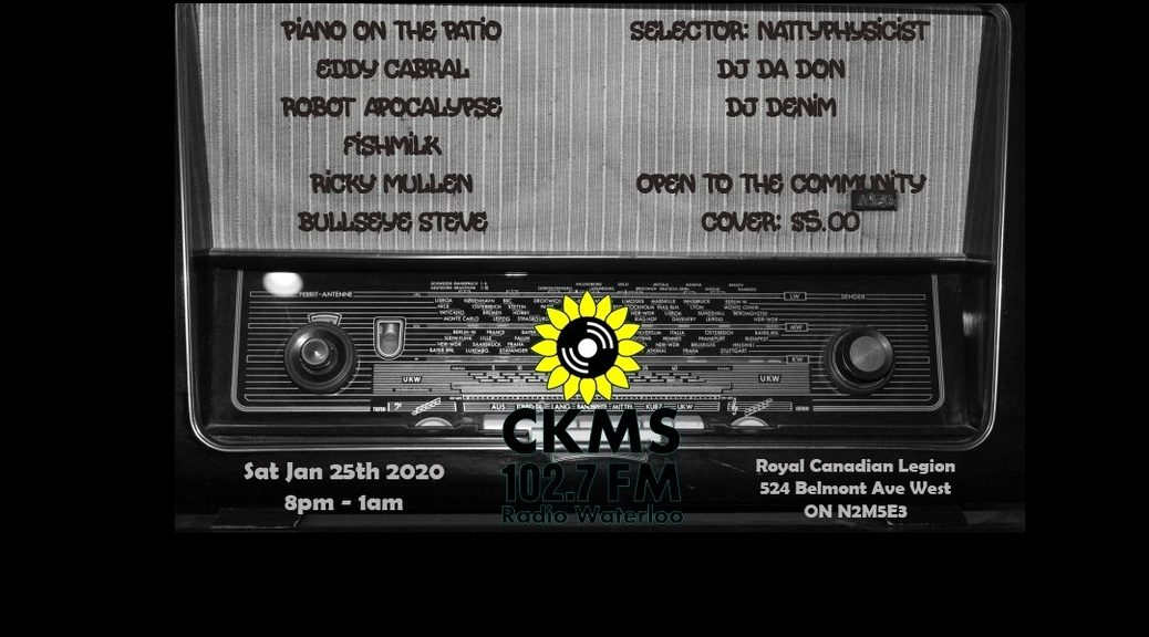 Poster for CKMS Social on 25 Jan 2020 with details superimposed over an old-timey radio
