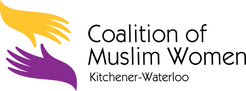 Logo for the Coalition of Muslim women KW. On the left of the image, two illustrated hands are reaching for each other - a yellow one on top, a purple on beneath it. To the right of the hands reads the name of the group.