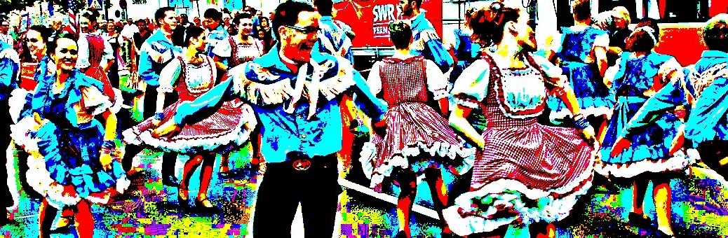 People square dancing in the street (solarized image)