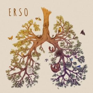 Erso album cover art: A tree in the shape of lungs with birds, squirrels and a sloth