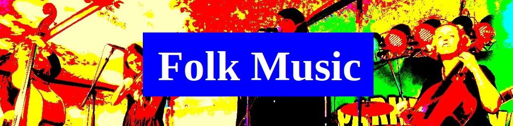 Folk Music (color saturated image of musicians playing upright bass, fiddle and cello onstage)