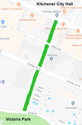 Map showing a green line along Gaukel Street from Victoria Park to City Hall