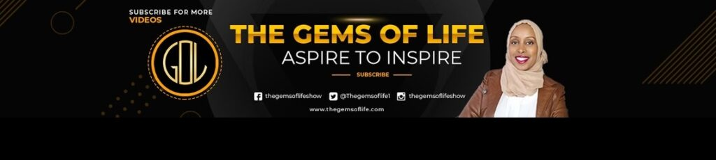 The Gems Of Life | Aspire To Inspire (logo and portrait of Fadhwa Yusuf with social media icons)