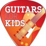 Guitars For Kids (image in the shape of a guitar pick, with a guitar body)