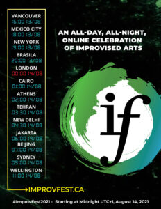 Improvfest 2021 poster listing start times around the globe