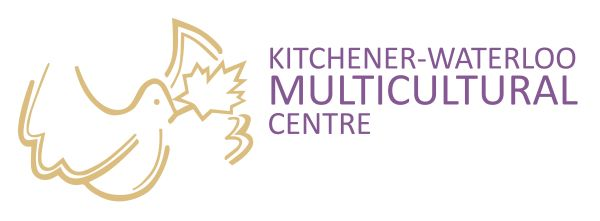 """Logo for the KW Multicultural Centre. White background with a basic outline illustration in gold of a dove with a maple leaf in its mouth on the left of the image. taking up 1/3 of the space. In the remaining 2/3ds of the space, in purple text reads """"Kitchener-Waterloo Multicultural Centre."""""""