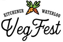 Kitchener Waterloo VegFest (illustration of carrots between Kitchener and Waterloo)