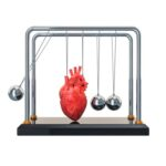(a Newton's Cradle with a heart where the second ball should be)