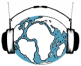 A world globe wearing headphones