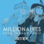 Millionaires | Sean Savage Remix | Melotika (Melotika wearing a stylish hat, with a similar faded image behind, all tinted blue)