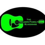 The Nelson Family Bluegrass (illustration of a green guitar on black background)