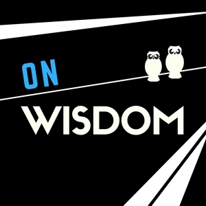 On Wisdom (white silhouettes of two owls on a black background, with diagonal lines)