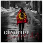 Génocide | Samian (person walking down a snowy street with a Mohawk flag on their back)