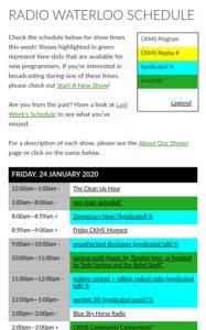 Radio Waterloo Schedule