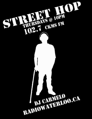 Street Hop | Thursdays @ 10PM | 102.7 CKMS FM | DJ CARMELO | RADIOWATERLOO.CA (silhoutte of DJ Carmelo wiht a cane, white on black)