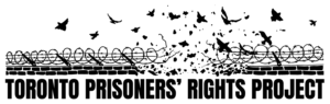 Toronto Prisoners Rights Project (B&W illustration of birds escaping from a gap in barbed wire)