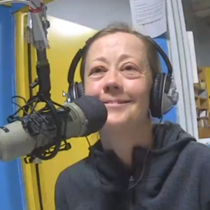 Tamara Lorincz in the studio at the microphone