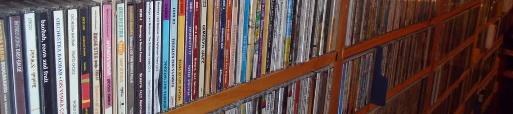 A shelf of CDs