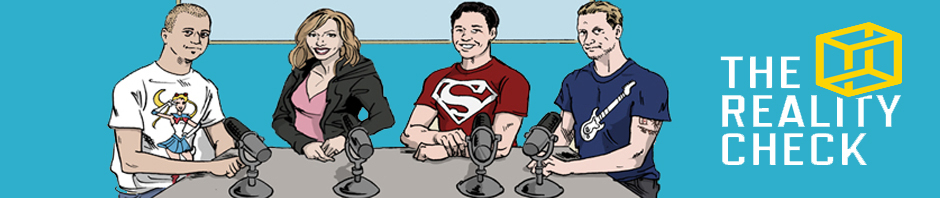 The Reality Check (cartoon illustrations of four hosts, with the logo on the right