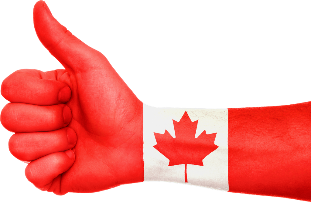 Hand with thumb up and a Canadian flag painted on the arm