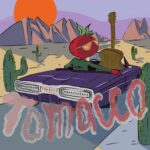 Tomacco (painting of a tomato and a guitar riding in a car in the desert)