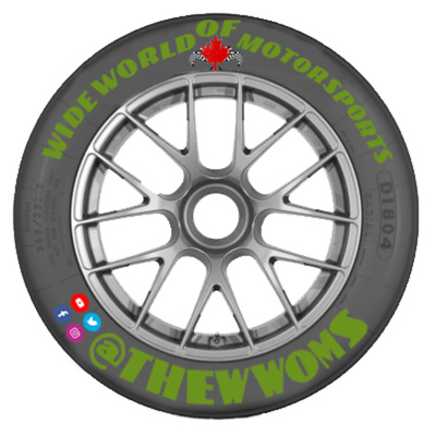 Wide World of Motorsports | @THEWWOMS (an automobile wheel with letters and social media logos on the tire)