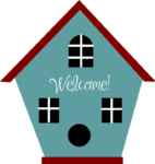 Welcome! (cursive script on the front of an illustration of a birdhouse)