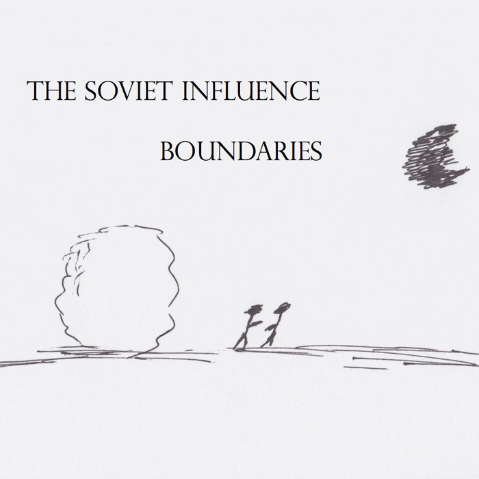 The Soviet Influence | Boundaries (album cover with an illustration of a large snowball, two stick figures, and the moon (?)