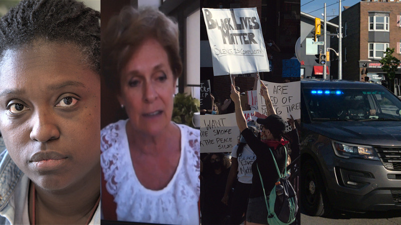 "A collage of images: Headshots of Teniele Warren and Karen Redman. Picture of Black Lives Matter protest in Kitchener, a sign reading: ""Black Lives Maters, Silence is Complicity"". Picture of a police car at the BLM protest in Kitchener."