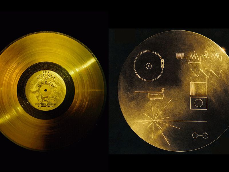 (front and back sides of the Golden Record)
