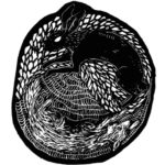 Woodcut of a rabbit in a den - Logan and Nathan logo (album cover)