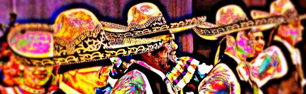 Blurred, solarized image of Mariachi dancers