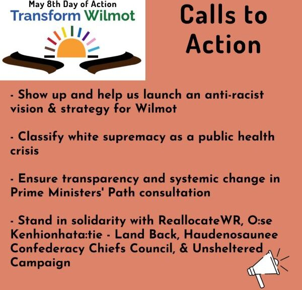 """Event poster with """"May 8th Day of Action - Transform Wilmot"""" at the top with a sun with a rainbow of rays and black and brown swooshes. To the right """"Calls to Action"""". Below that """"Show up and help us launch an anti-racist vision & strategy for Wilmot. - Classify white supremacy as a public health risk. - Ensure transparency and systemic change in Prim Ministers' Path Consultation. - Stand in solidarity with ReallocateWR, O:se Kenhionhata:tie - Land Back, - Haudenosaunee Confederacy Chiefs Council, & Unsheltered Campaign."""" At the bottom right is an illustration of a white megaphone."""