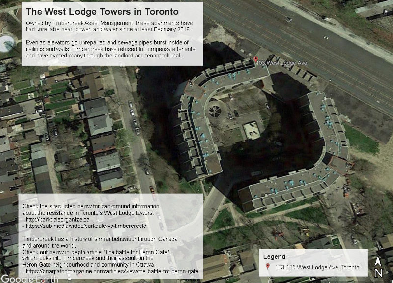 An aerial photograph of the area around the West Lodge Towers in Toronto. There are 2 text bubbles describing how crappy the landlord, Timbercreek Asset Management, is.