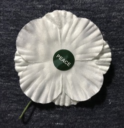 White lapel poppy with the word 'Peace' at the centre